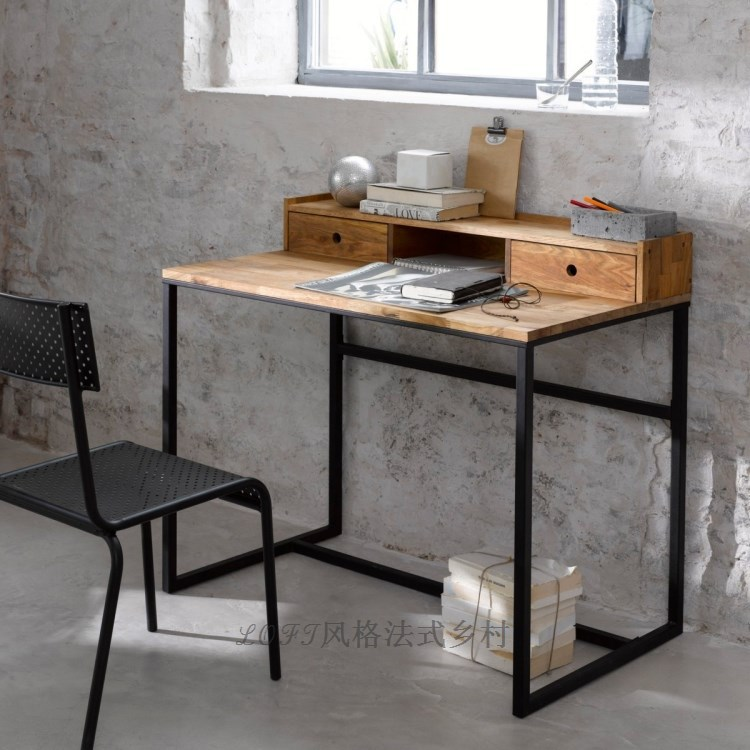 Desk computer desk table easy to do the old vintage - Table industrielle rallonge ...