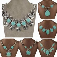 Vintage Necklace Tibetan Silver Natural Turquoise Statement Necklace Round Teardrop Carved Chain Necklaces Pendants Jewlery