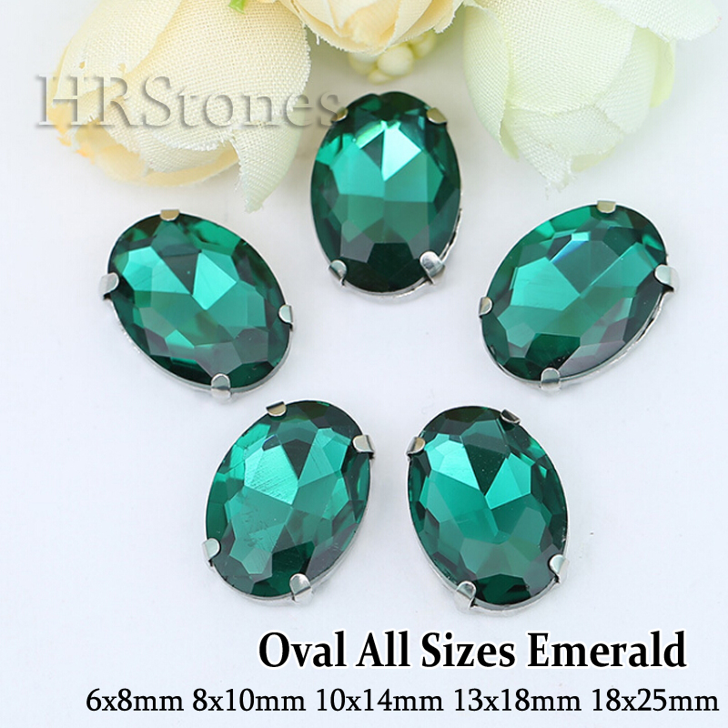 Glass Material Emerald All Size Strass Silver Claw Rhinestones Sewing On Oval Rhinestones Glass Rhinestones(China (Mainland))