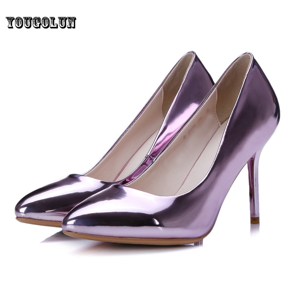 2016 Women sexy 5 colors patent PU thin high heels Pumps woman pointed toe Shoes ladies summer autumn female fashion party shoes
