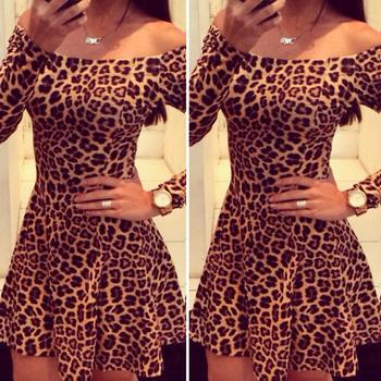 Feitong новинка женщин сексуальный с плеча с длинным рукавом слэш образным вырезом леопарда свободного покроя платье Большой размер S-XL бесплатная доставка и оптовая продажа