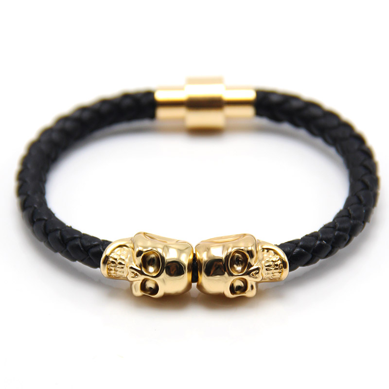 2016 Color not Fade Man Women Bracelet for Man Women Jewelry Punk Genuine Leather Skull Bracelet for Man Women in 10 Colors(China (Mainland))