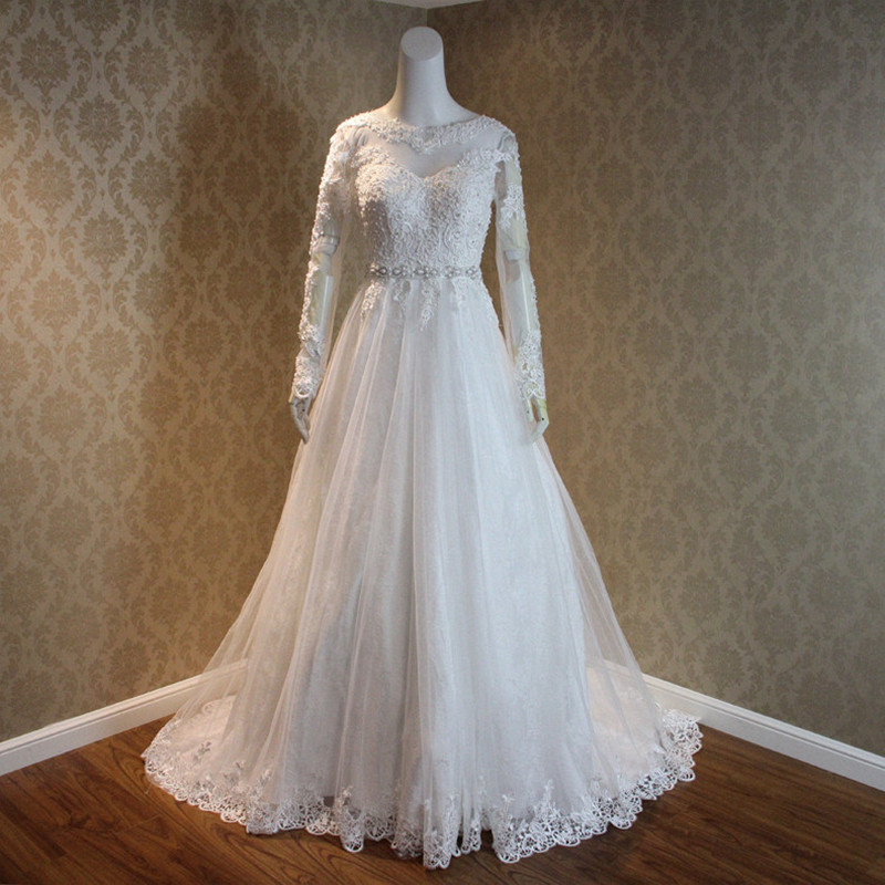 Bateau neck long sleeves backless lace tulle wedding dress for Lace sleeve backless wedding dress