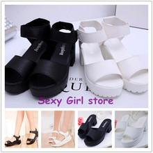 2015 Women Summer shoes white Black fashion platform soft PU sandals women's high-heeled shoes thick heel sandals,plus size 40(China (Mainland))