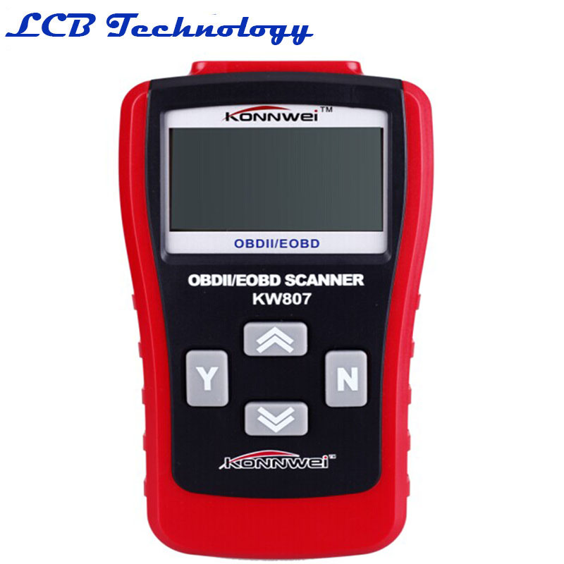 HOT Sale 2016 Universal OBD2 OBD II Scanner Car Computer Vehicle Diagnostics Tool KW807 Withe Retail Box(China (Mainland))