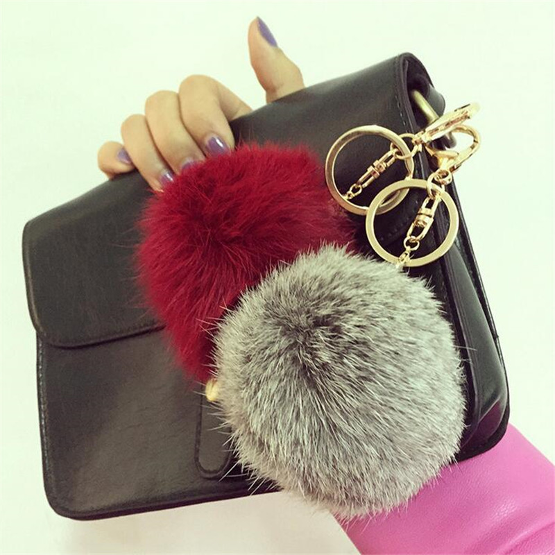Fashion Rabbit Fur Keychain Ball PomPom Cell Phone Car Keychain Pendant Handbag Gold/Silver Metal Charm Key Ring(China (Mainland))
