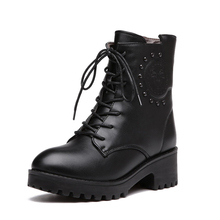 Buy Winter New Martin Boots PU Ankle Womens Motorcycle Boots Rivet Fashion Winter Shoes Chunky Heel Short Boots Women's Shoes for $32.60 in AliExpress store