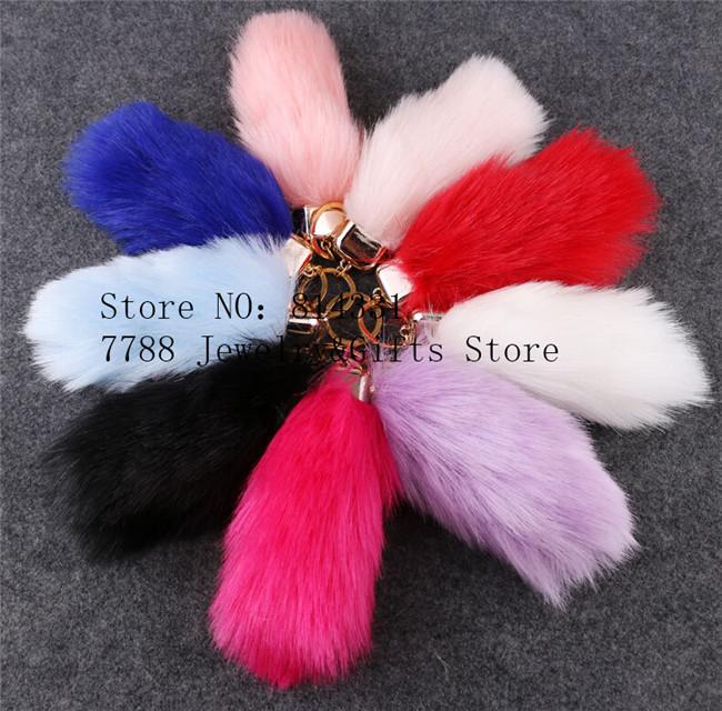 Imitation Rabbit Hair Long Bar Fur Keychain15cm 9Colors Car Ornaments Bag Pendant Keyring Fur Pom Pom Keychain Valentine Gift(China (Mainland))
