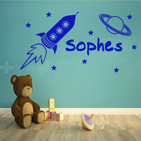 Space Rocket & Stars Kids Personalised Any Name Bedroom Wall Art Sticker Wall Stickers 40*80CM Free Shipping(China (Mainland))