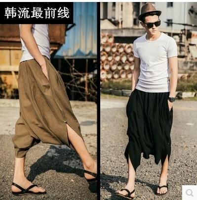2015 summer male hip hop dance fluid trousers vintage loose harem parkour sport linen breathable casual pants  -  Carey Li's Plus Size store store