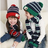 2colors Free shipping winter children hats+scarf sets baby pocket beanie boy earflap girl skullcap retail #0911