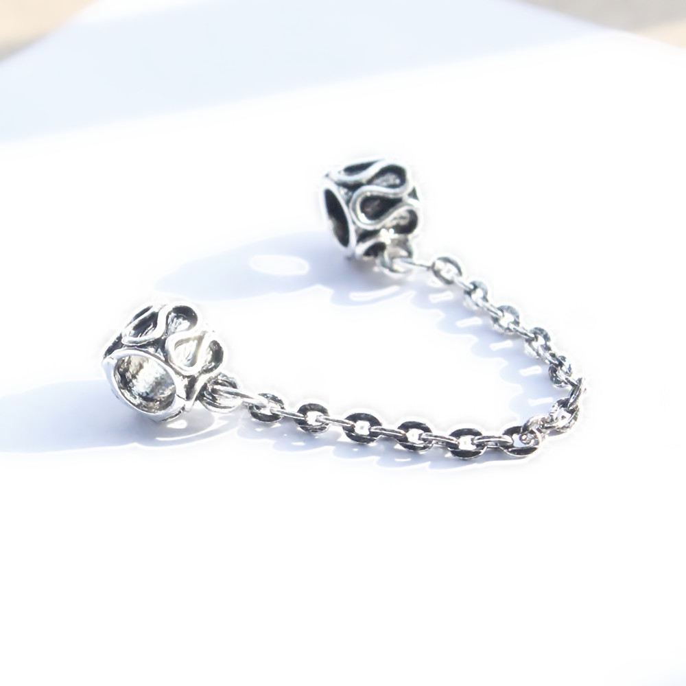 1pc Free Shipping European Silver plated DIY Safety Chain charms Fit Pandora Bracelets & Bangles(China (Mainland))