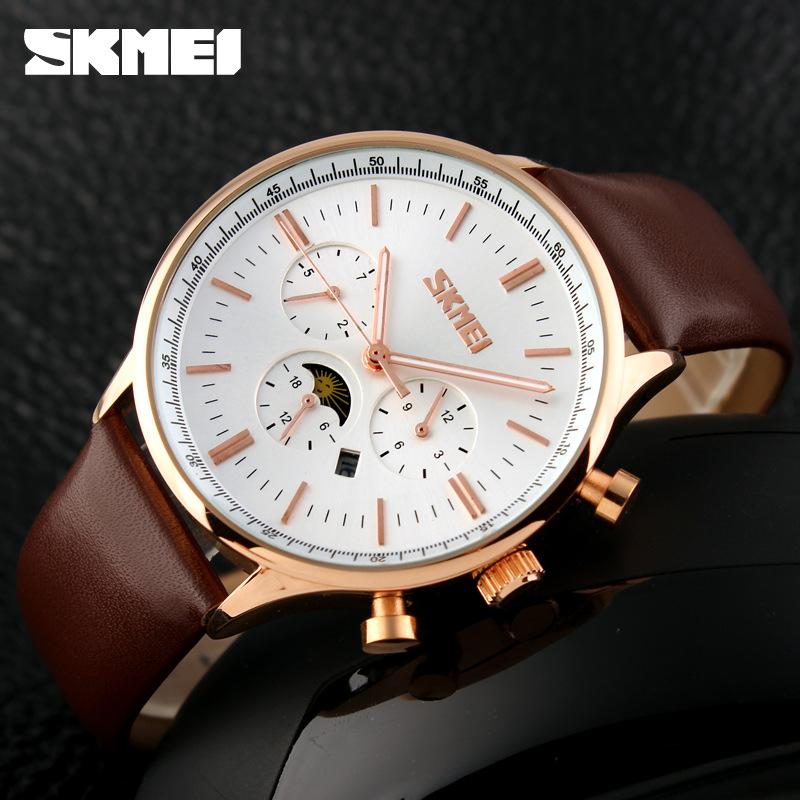 Relojes Hombre font b 2016 b font Famous brand Skmei 9117 men watch Leather Quartz Watch