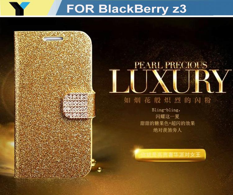Luxury bling case Fashion Wallet Flip Feature with Credit/id Card Slots/holder PU Leather Bling Case Cover For blackberry z3(China (Mainland))