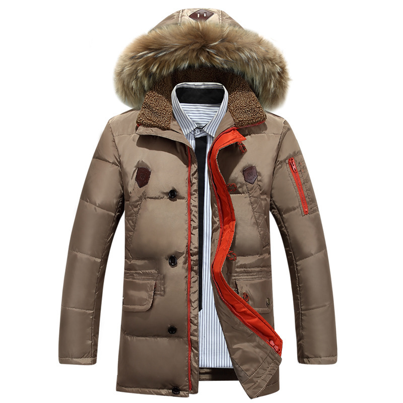 Large size Winter Thick Warm Duck Down Winter Medium length Jacket Men Fur Collar Winter Parkas Hooded Coat Outdoor Down Jacket(China (Mainland))