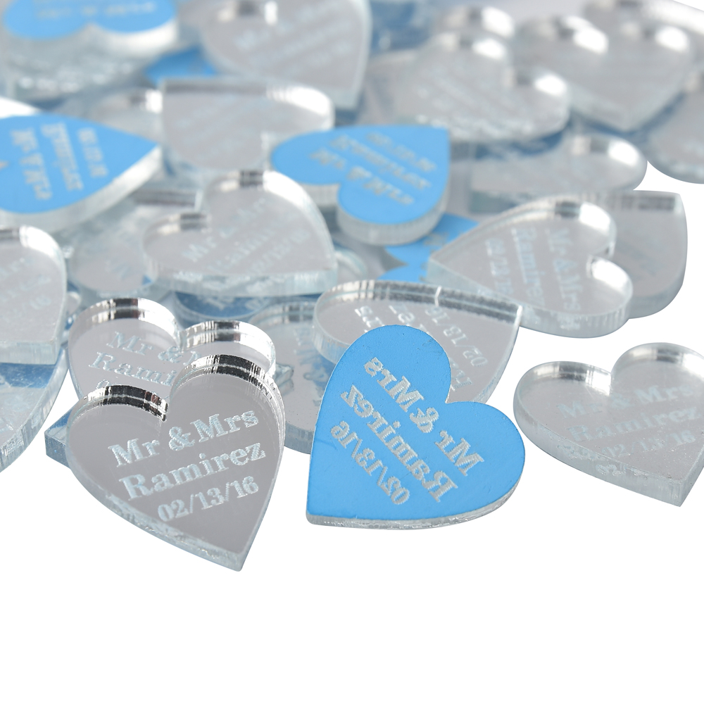 100 pcs Personalized Engraved Mirror Transparent MR MRS Surname Love Heart Wedding Table Decor Favors Customized
