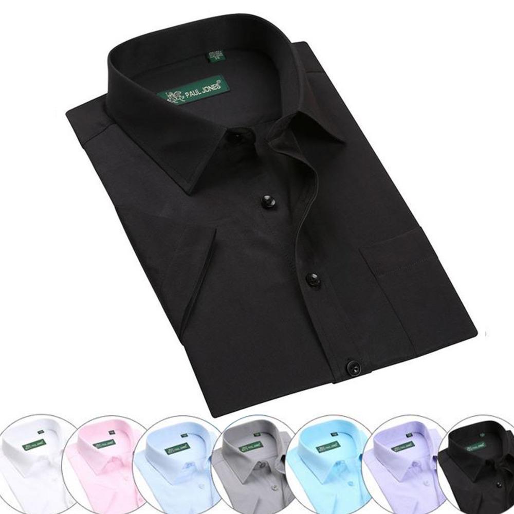 2016 Classic Business Solid Men's Shirt Short Sleeve Formal Cotton Dress Shirts Man 7 Colors Plus 6XL - Alice Fashion store