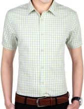 Cotton 2016 New Brand Mens Formal Business Shirts Casual Slim Short Sleeve Dress Shirts Casual Shirts S-2XL Yellow Green Plaid M(China (Mainland))