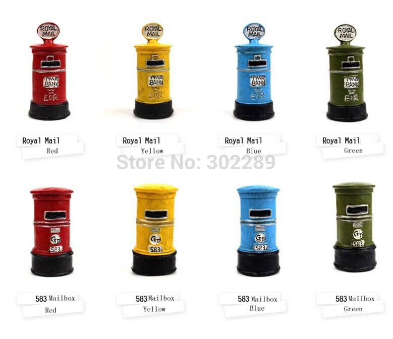 free shipping hot sale Home decoration British style red mailbox Vintage decor Craft accessories Handmade decor(China (Mainland))