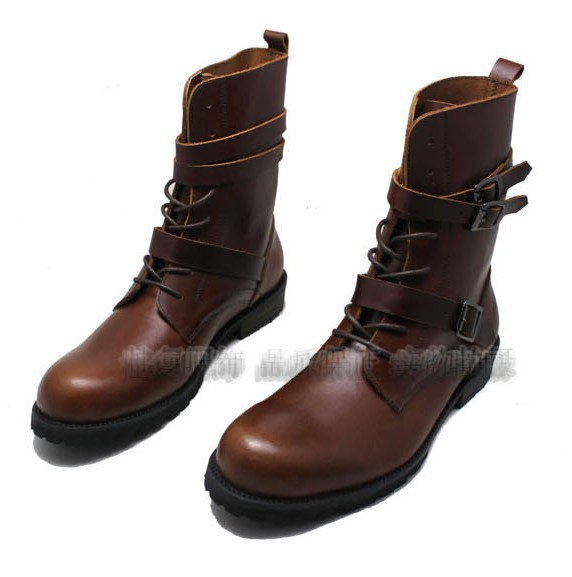 GRIMENTIN fashion mens shoes top quality brown&black cowhide genuine leather men boots men motorcycle boots for men office Bo32(China (Mainland))