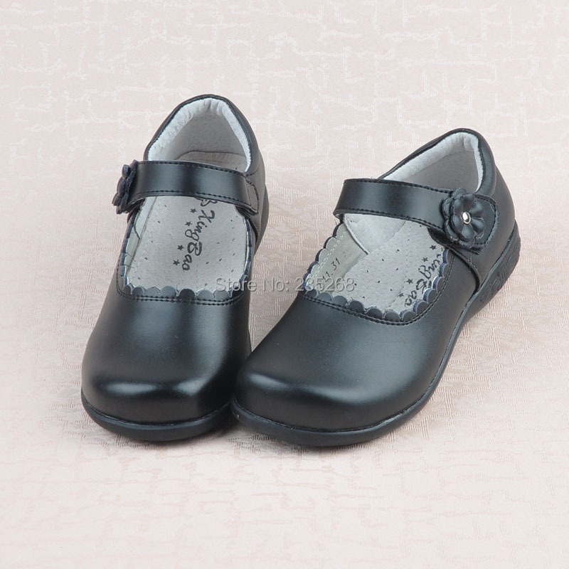 2015 Black Genuine Leather Shoes Toddler Girl Shoes Girls School Shoes Girls Loafers Girls Dress Shoes(China (Mainland))