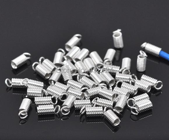 Здесь можно купить  5000   Wholesales Hot  DIY Silver Plated Coil End Crimp Fasteners Beads Charms for Bracelet Necklace  9x4mm  Ювелирные изделия и часы