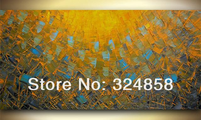 Huge handmade fine art brown blue rectangle landscape oil painting ...
