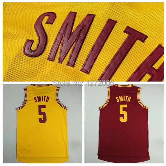 Newest Cleveland #5 Jr Smith Jersey Red Yellow White Stitched Logo High Quality J.R. Smith Basketball Jersey Shirt Uniform(China (Mainland))