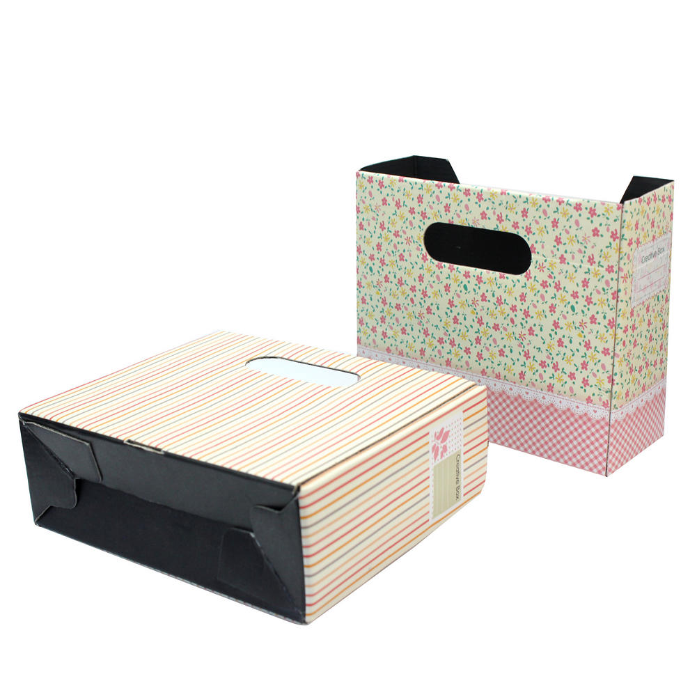2pcs DIY Folding Paper Board Desk Table Storage Organizer Stationery Makeup Box(China (Mainland))