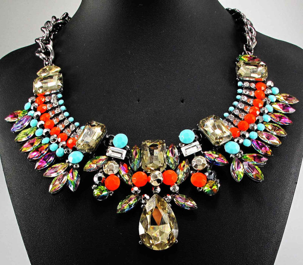 Newest Gorgeous Fashion Necklace Jewelry crystal Department Statement Necklace Women Choker Necklaces & Pendants Q733(China (Mainland))
