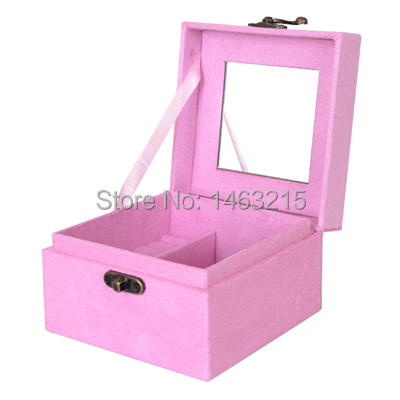 New!!Free shipping Pink color Square Princess Retro Suede Velvet Jewelry Wedding Gift Storage Box Case/jewelry armoire(China (Mainland))