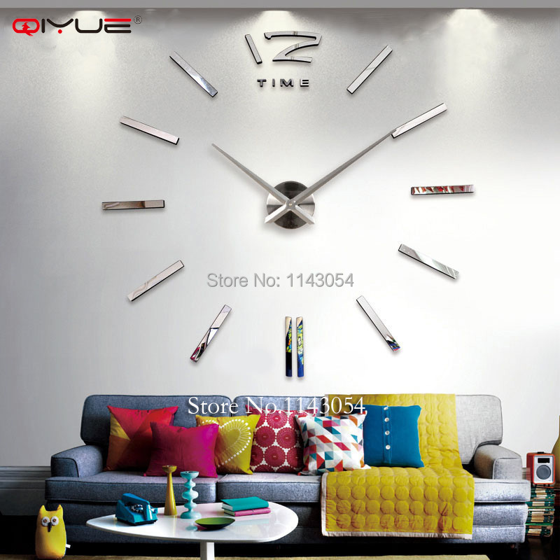 Home decorations big mirror wall clock Modern design large decorative designer wall clock watch wall sticker unique gift W003(China (Mainland))