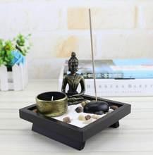 NOOLIM Resin Buddha Statue Zen Meditation Peaceful Relax Decor Set Spiritual Zen Garden Sand Tray Kit Buddha Incense Burner(China)