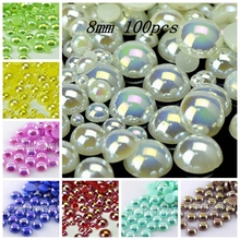 Buy Hot Sale!Free 100Pcs/lot Size 8mm AB Colors Imitation Pearls Craft Half Round Flatback Beads DIY Decoration for $1.01 in AliExpress store