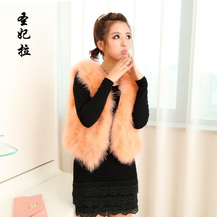 Casacos Promotion Colete Black/purple/pink/beige Winter 2015 Elegant Brand Fashion Women Natural Ostrich Fur Vest Turkey Feather(China (Mainland))