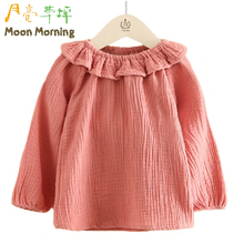 Buy Moon Morning Kids Blouse 2T~8T Linen Ruffle Frill Spring Summer Child Clothing Solid Pink Fashion New Full Regular Girls Garment for $9.49 in AliExpress store