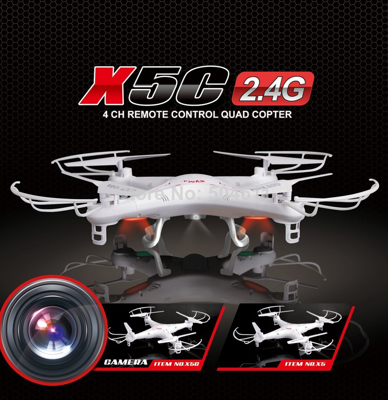 Фотография New 2014 New Version Syma X5C 2.4G 6 Axis GYRO HD Camera RC Quadcopter RTF RC Helicopter with 2.0MP Camera