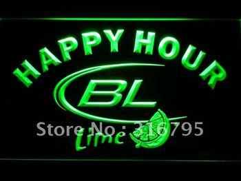 649-g Bud Lime Beer Happy Hour Bar LED Neon Light Sign