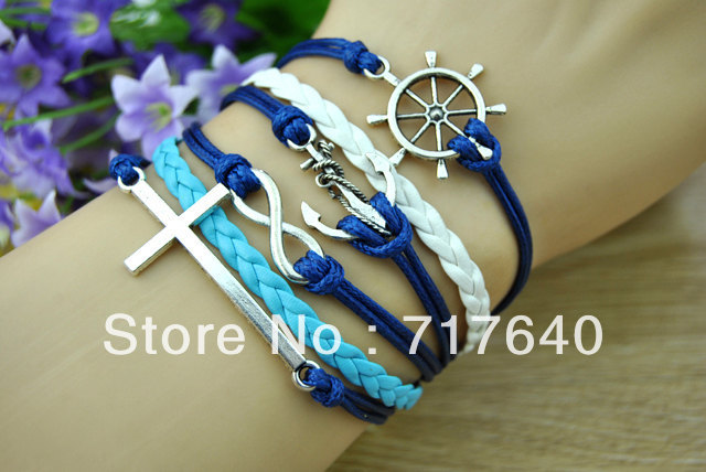 Free Shipping!6pcs/lot! Silver Alloy Leather Cord Cross LOVE Anchor Charm Bracelet 2013 Summer Trendy Customized Products(China (Mainland))