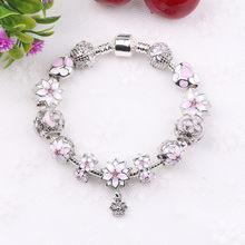 Couqcy cyrkon bransoletki z wisiorkiem różowy kwiatowy koralik blokady Charms romantyczny prezent Fit bransoletki damskie oryginalne bransoletki(China)