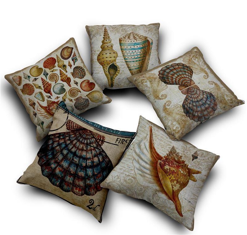 Throw Pillows Vintage Fabric : Aliexpress.com : Buy almofadas vintage sea fan shell nautical cushion cover linen fabric ...