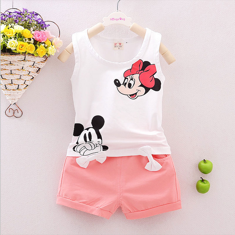 2016 summer baby girls clothing minnie mouse set for infant baby brand cotton sleeveless clothes sets(China (Mainland))
