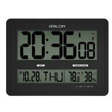 Baldr Jumbo LCD Digital Wall Clock, Calendar Measuring Temperature Humidity Monitor , Big Size For Hanging(China (Mainland))