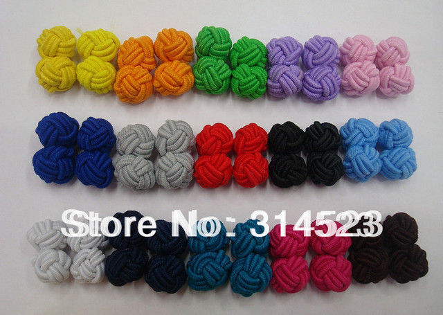 Hand made chinese knot cufflink for shirt 15 colors 30pairs a lot free shipping