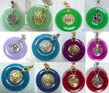 DD 11.23 12 color-green/purple/blue/red jade 18KGP bless happiness pendant fast chain can choose Discount 35%(China (Mainland))