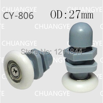 Гаджет  OD:27mm nylon shower door pulley glass shower room pulley tempered glass hardware  None Строительство и Недвижимость