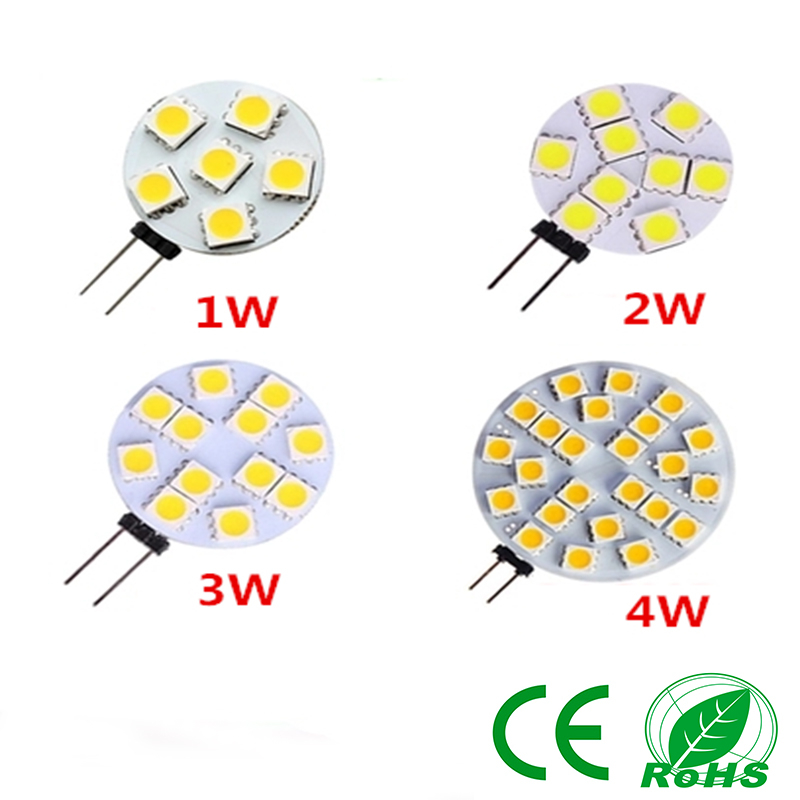 1PCS G4 12V SMD5050 1W 2W 3W 4W LED corn light 6LED 9LED 12LED 24LED lamp warm white / white(China (Mainland))
