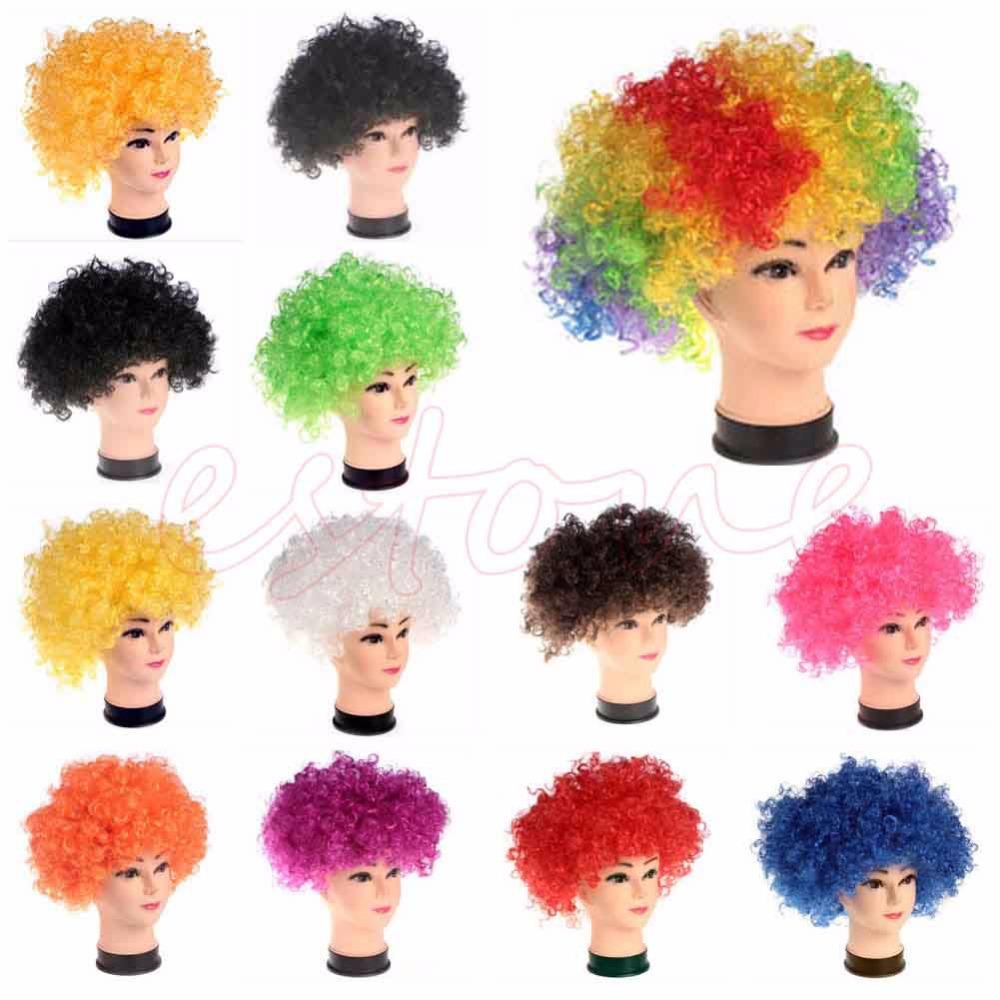 Гаджет  Kids Clown Wig Rainbow Afro Circus Fro Multicolored Costume Halloween Childs NEW None Волосы и аксессуары