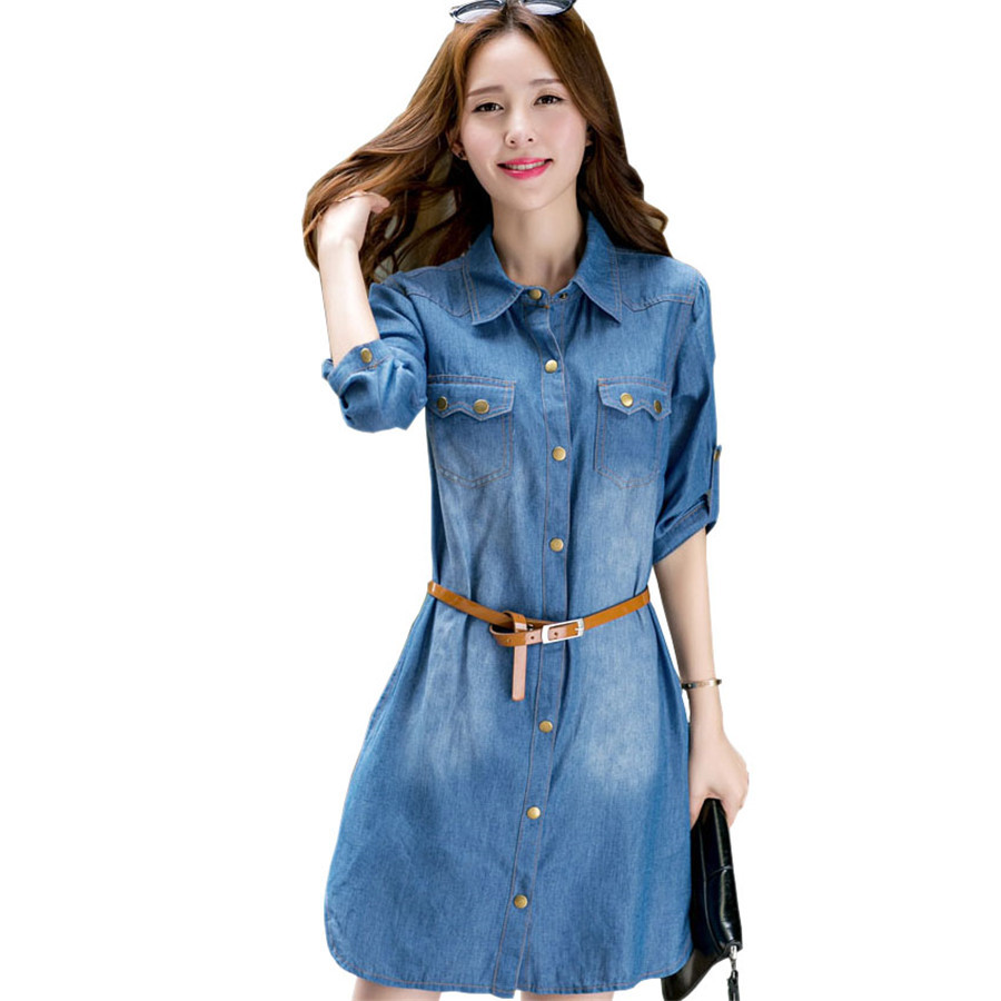 Wonderful NEW Womens Longline Denim Shirt Dress Ladies Jean Dresses Size 8 10 12 14 | EBay