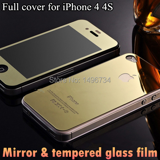 (2pcs=1pc Front+ 1pc Back) Color film For iPhone4s tempered glass screen protector 4S glass film mirror cover For iPhone 4 4s(China (Mainland))